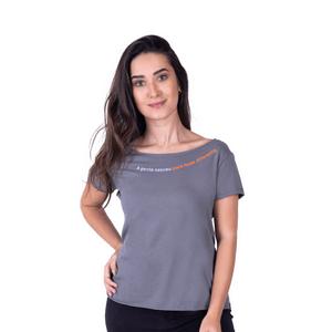 """Tshirt Feminina Verão """"Fazer Diferente"""" Cinza"""